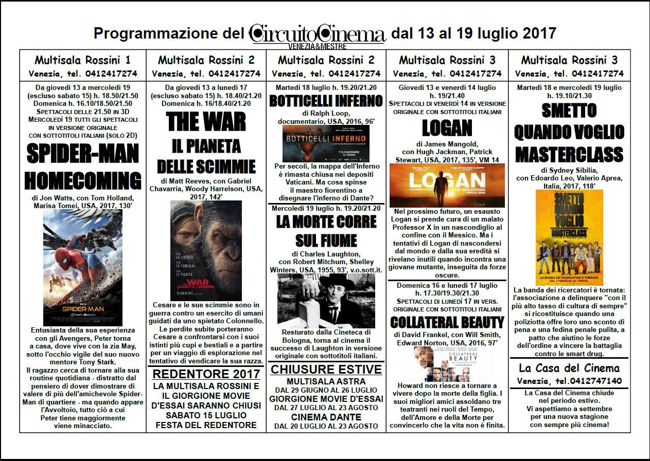 Film Circuito from 13 to 19 july 2017