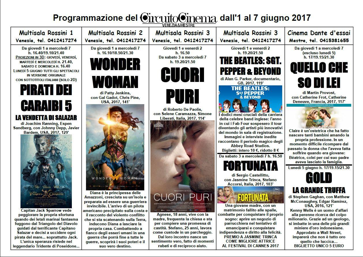 Programmazione del Circuito Cinema Venezia Mestre dall'1 al 7 giugno 2017