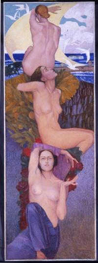 Luigi Bonazza  (Arco, Trento, 1877 - Trento, 1965) Le Sirene, 1932 Tempera su carta Collezione privata