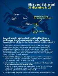 Cartolina capodanno 2015 a Venezia  con mappa area fuochi
