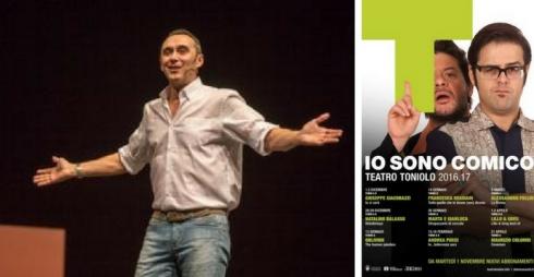 Giuseppe Giacobazzi e locandina rassegna teatrale