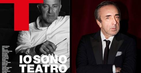A sinistra manifesto, a destra Silvio Orlando