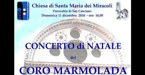 Locandina del Concerto di Natale alla Chiesa di Santa Maria dei Miracoli