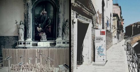 a sinistra immagine dell'interno di Santa Maria Ausiliatrice, a destra immagine dell'esterno di Santa Maria Ausiliatrice