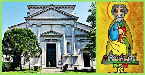 Facciata della Chiesa di San Pietro di Castello e locandina della festa