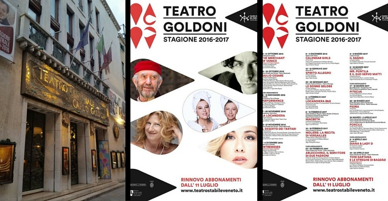 A sinistra facciata del Teatro Goldoni, al centro e a destra locandina stagione2016/17