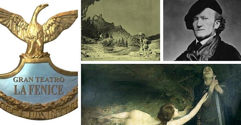 A sinistra il simbolo del teatro la Fenice foto di wagner e una seligrafia ed un dipinto su Tannhauser