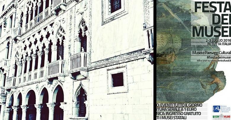 Facciata Galleria Granchetti alla Ca' d'oro e Locandina Festa dei Musei