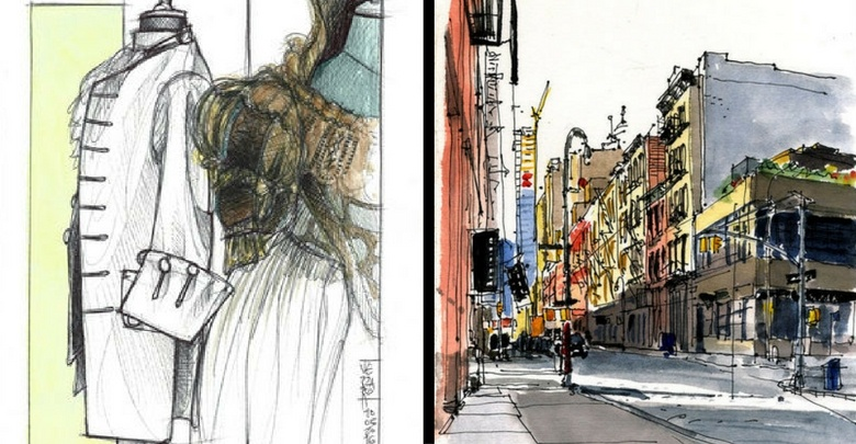a sinistra Atelier Pietro Longhi, a destra Matite_immagine_hugo ny des soho r 25