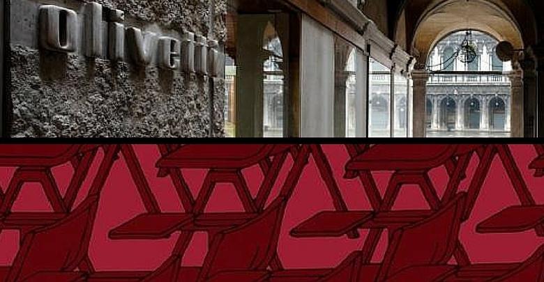 Veduta esterna del Negozio Olivetti e locandina mostra S.O.S. Sottsass Olivetti Synthesis