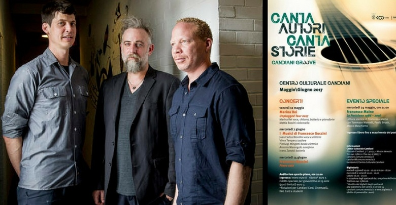 On the left/A sinistra: Ches Smith, Craig Taborn, Mat Maneri; on the right/a destra: poster of the event/locandina dell'evento