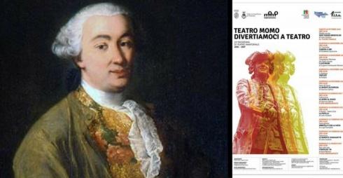 Carlo Goldoni e locandina della rassegna teatrale