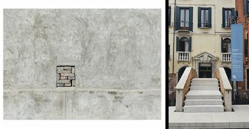 A sinistra Immagine della mostra, a destra ingresso della Fondazione Querini Stampalia