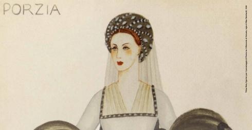 Titina Rota, figurino per il personaggio di Porzia ne Il Mercante di Venezia, regia di Max Reinhardt, 1934