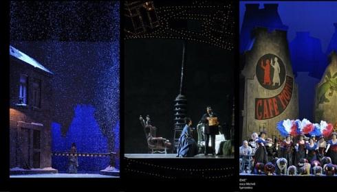 Tre foto durante l'esecuzione dell'opera