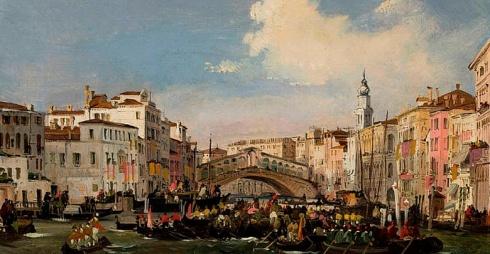 """Ippolito Caffi, """"Venezia, Regata in Canal Grande"""", ante 1848-49, Olio su cartoncino intelato, 25,5 x 41,5 cm Fondazione Musei Civici di Venezia"""