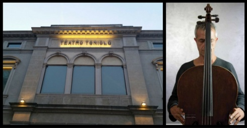 A sinistra facciata Teatro Toniolo, a destra Giovanni Sollima