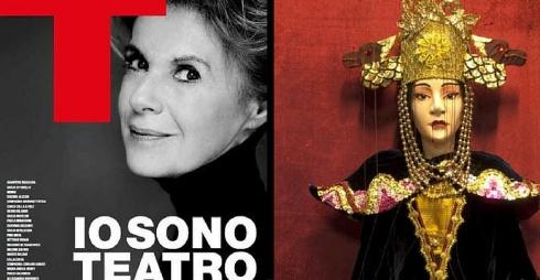 A sinistra manifesto, a destra marionetta Turandot